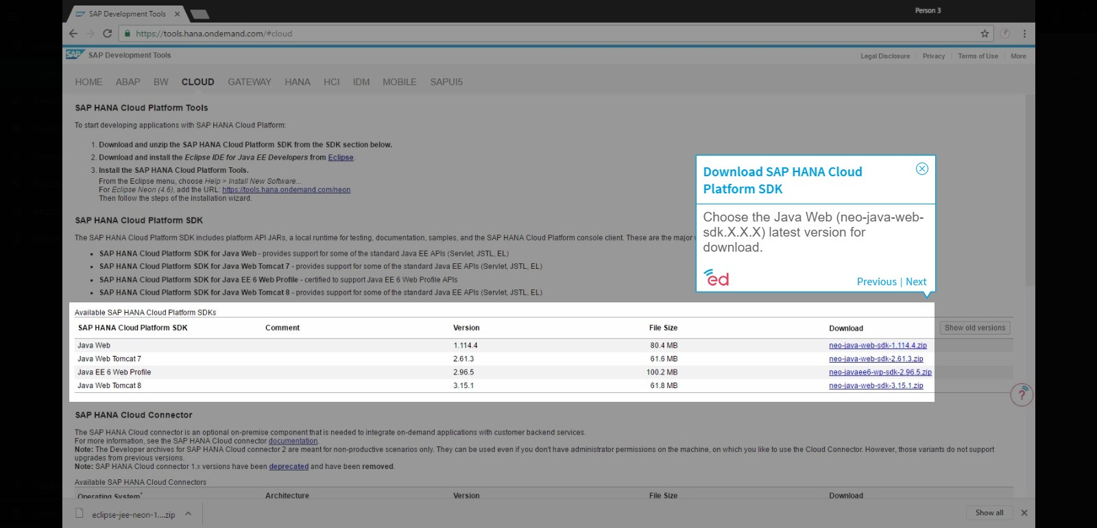 Configuring Eclipse with SAP HANA Cloud Platform Tools for Java